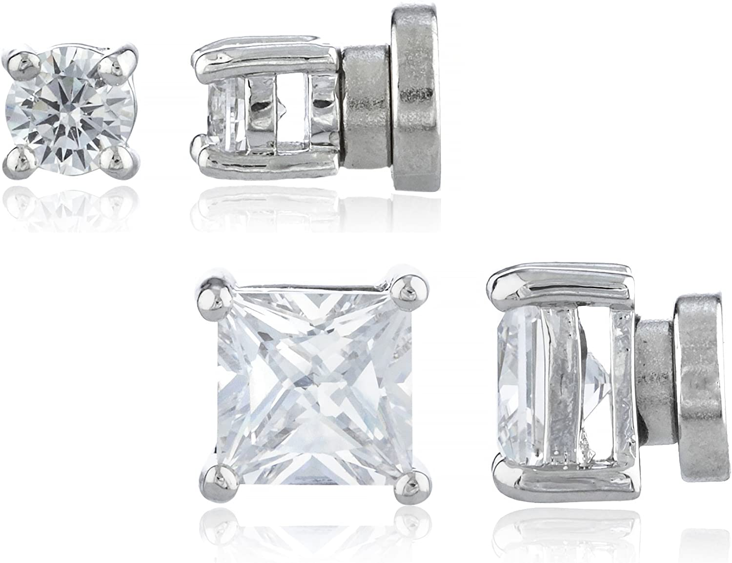 2 Pack Magnetic Stud Earrings Round & Square Studs Set