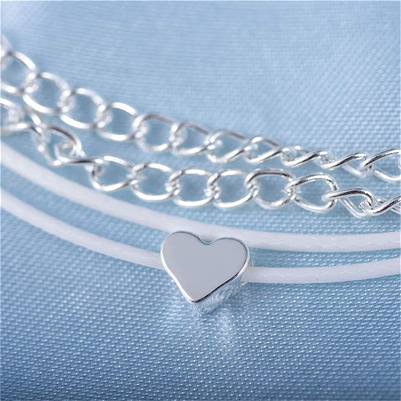 Flybloom Bracelets de Cheville Vintage avec Pendentif en Forme de Coeur pour Femmes Filles boh/ème Multicouche Sandale aux Pieds Nus Plage Pied cha/îne Cheville Bracelet de Cheville