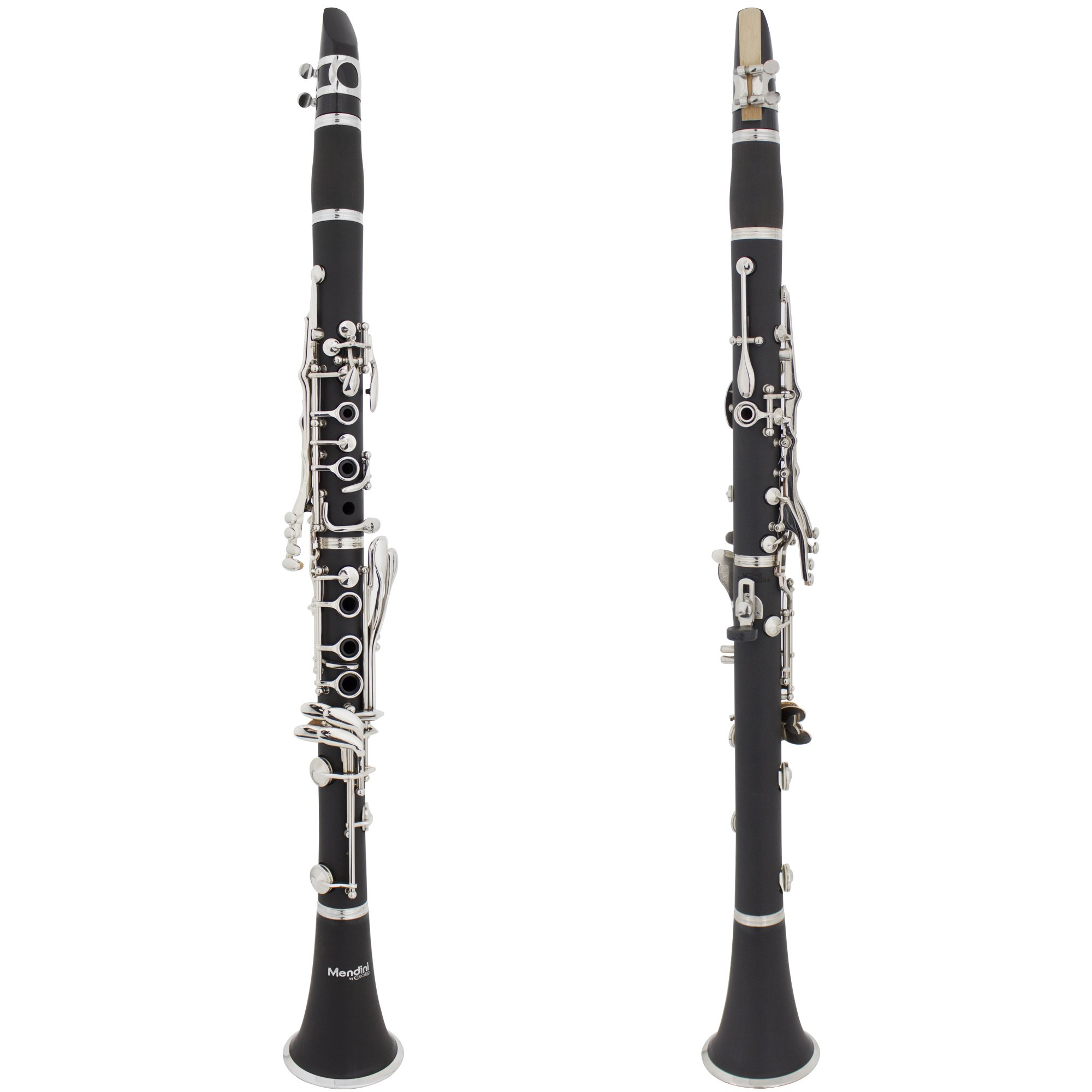 Mendini by Cecilio B Flat Clarinet with 2 Barrels, Case, Stand, Book, 10 Reeds, Mouthpiece and Warranty-Black Ebonite MCT-JE2+SD+PB by Mendini by Cecilio (Image #2)