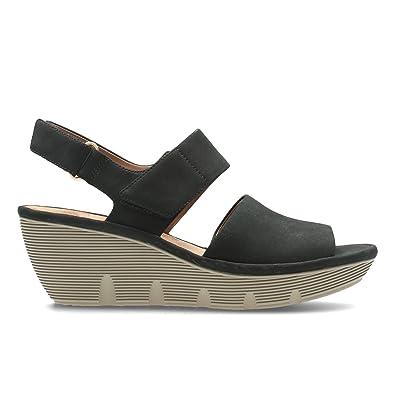 Clarks Clarene Allure Womens Wide Wedge Heel Sandals 7 Black