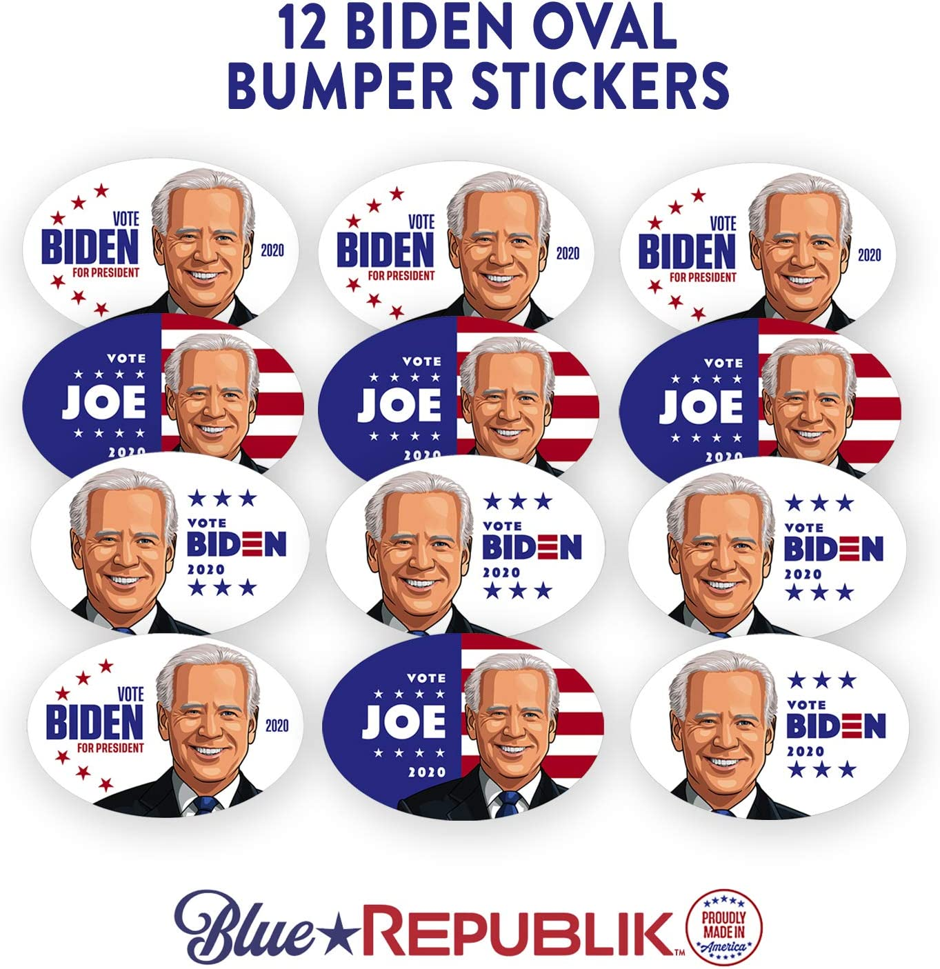 12 Pack 4 x 6 Ovals Professionally Printed in USA with Weather Resistant UV Inks. Elizabeth Warren Sticker for 2020 Election BlueRepublik Warren 2020 Bumper Sticker