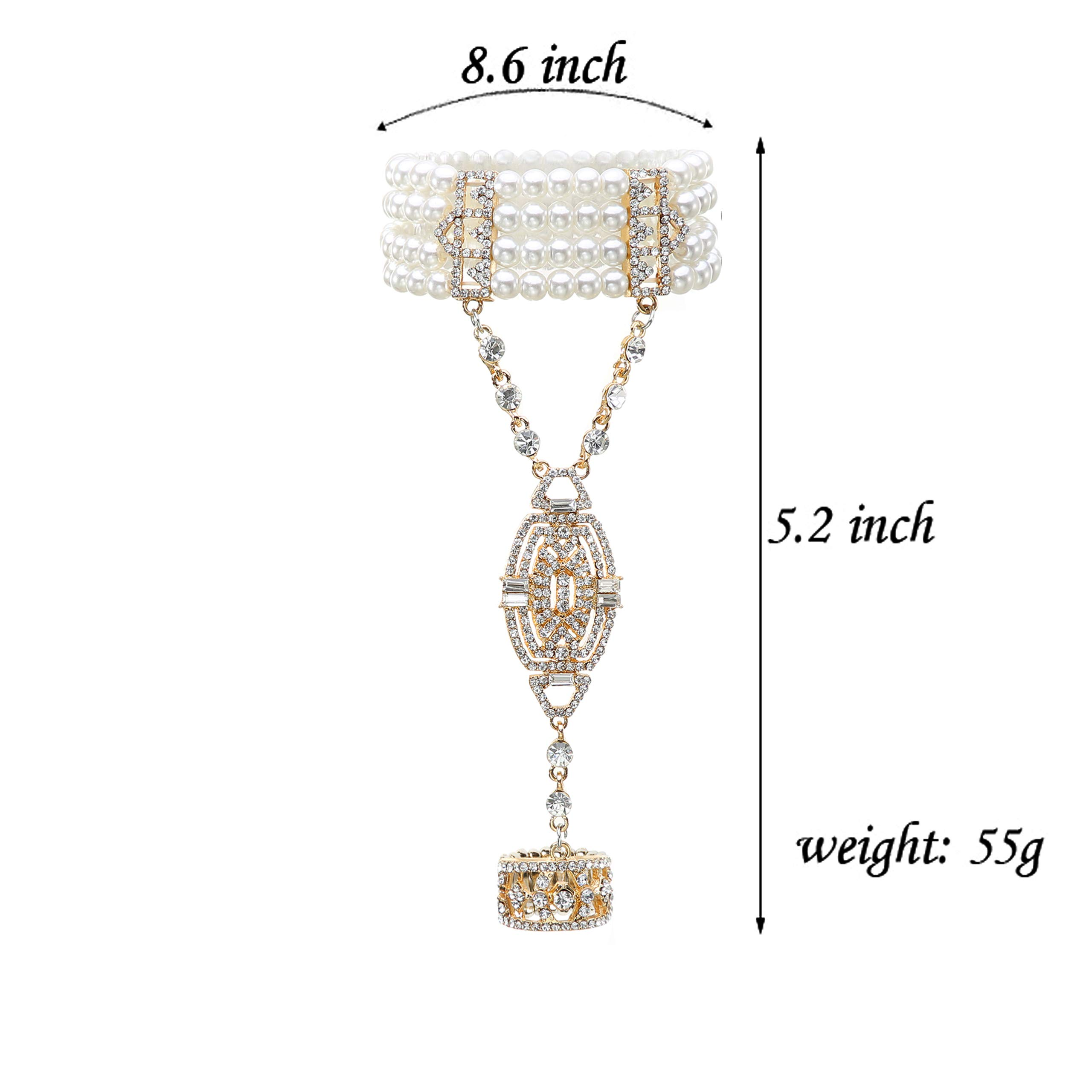 Metme 1920s Gatsby Imitation Pearl Necklace Earrings Jewelry Set Multilayer 20s Flapper Accessories for Bridal Wedding