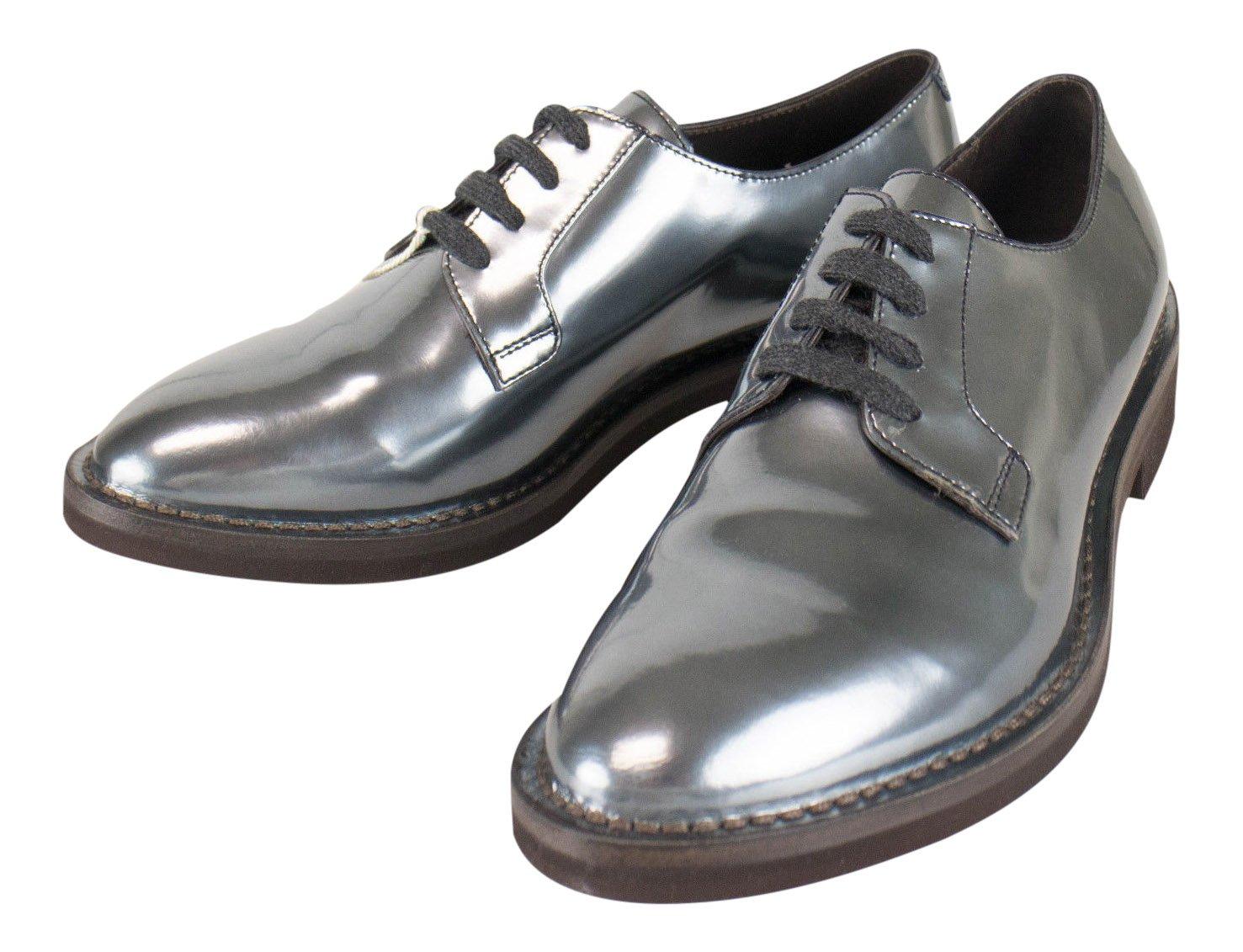 Brunello Cucinelliグレーパテントレザーオックスフォード靴サイズ38.5 / 8.5   B01N6Q39J7