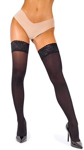 Hold Up Stockings Black Sheer Lace Top Thigh High Hold-ups Stockings Pantyhose