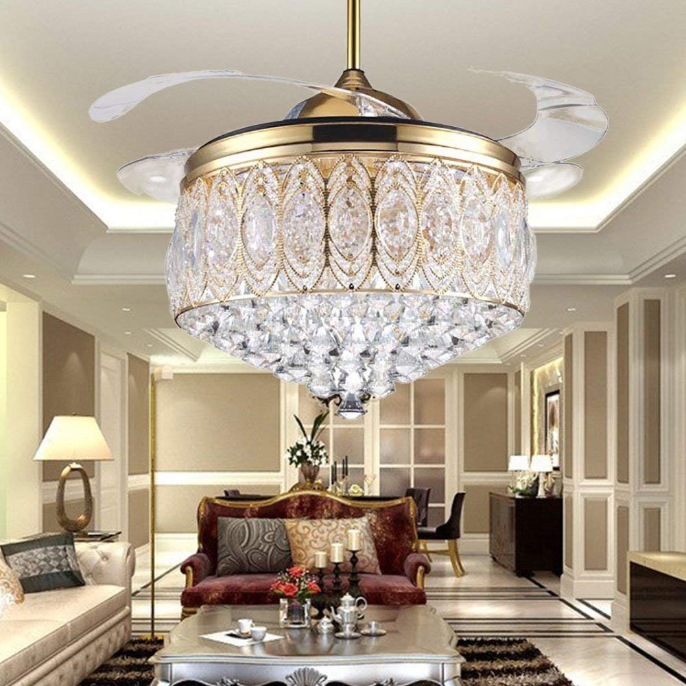 Rs lighting modern 42 inch crystal ceiling fan with 4 retractable blades and remote fan light for room decoration 3 changed light fan chandelier for