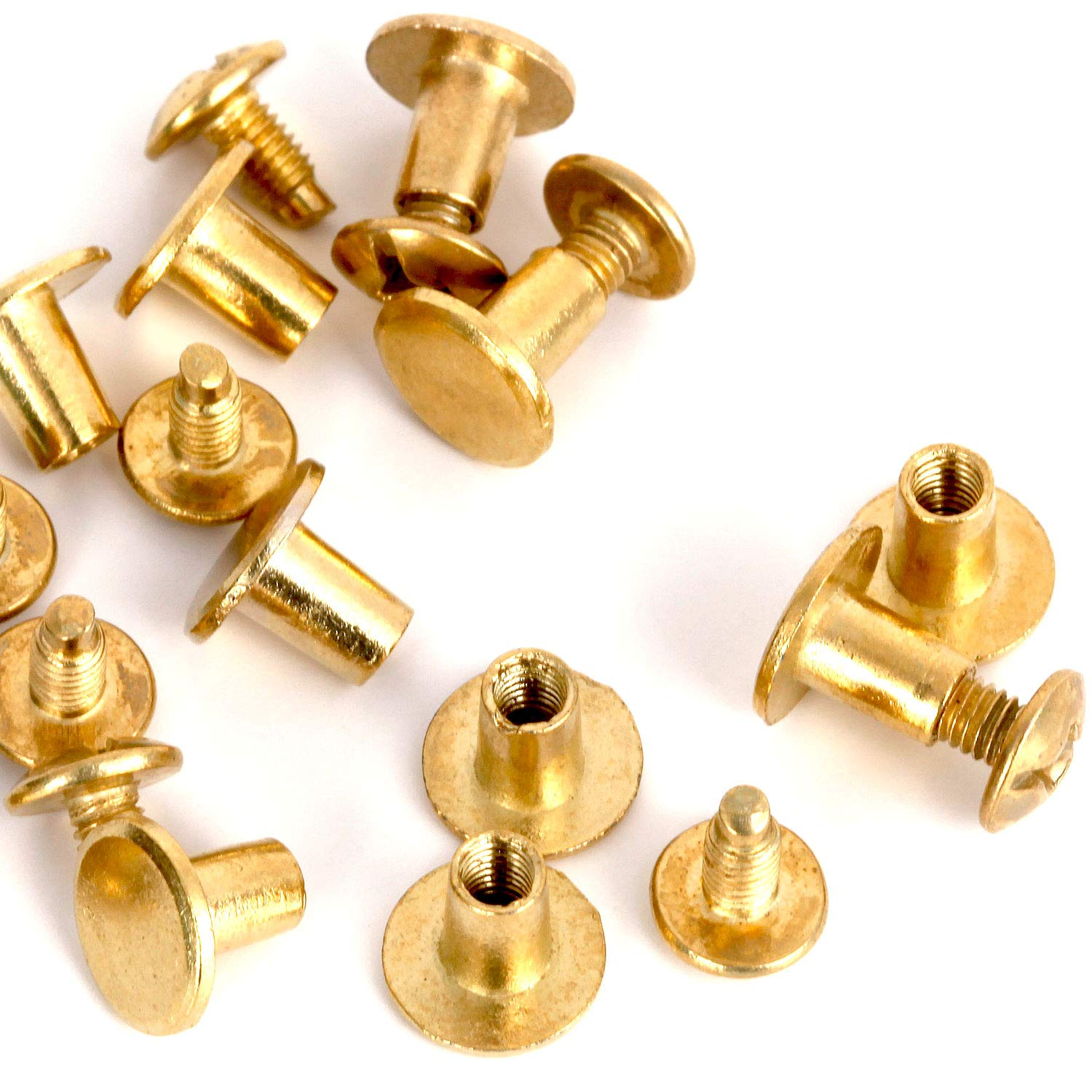 Round Flat Head Chicago Screws Buttons for Leather Crafting, 1/4 Inches (6mm) Repair Screw Post Fastener, Metal Nail Rivet Studs, Gold, 30 Sets, Diameter 5/16 Inches (8mm) RUBYCA