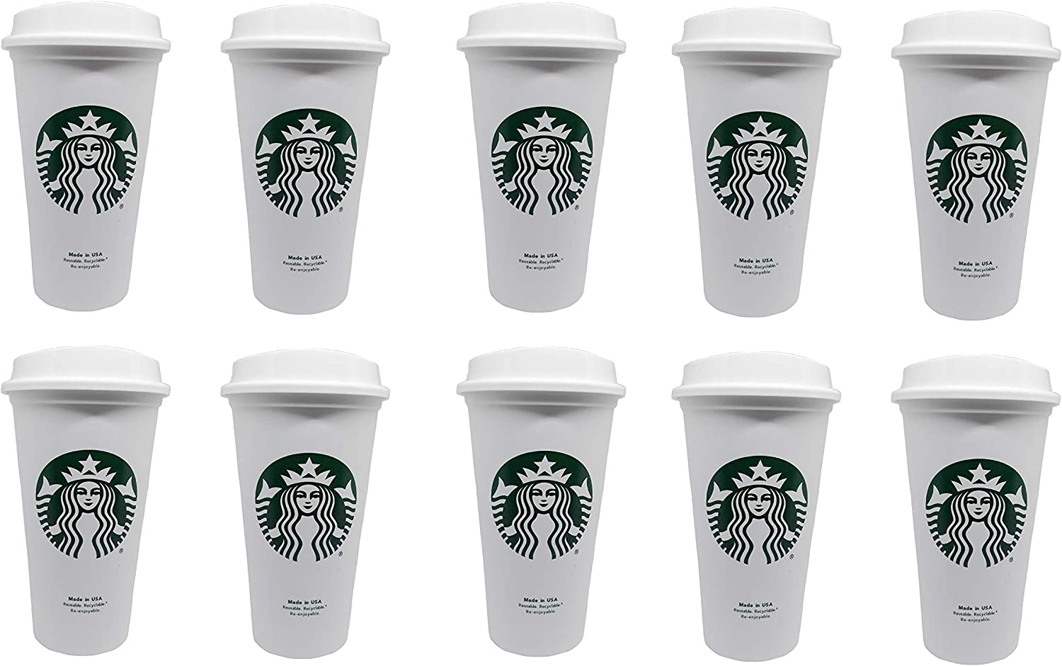 Starbucks Reusable Travel Cup To Go Coffee Cup (Grande 16 Oz) (10pack)