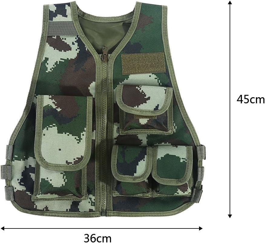 VGEBY Ajustable Chaleco de Camuflaje con Multi Bolsillos para Ni/ños para Juegos al Aire Libre Caza Fotograf/ía Pesca Campamento