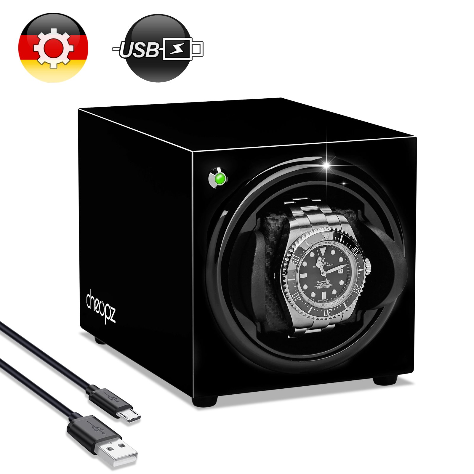 USB Automatic Watch Winder for Single Watch Dual Powered by Batteries & USB, Black by Cheopz
