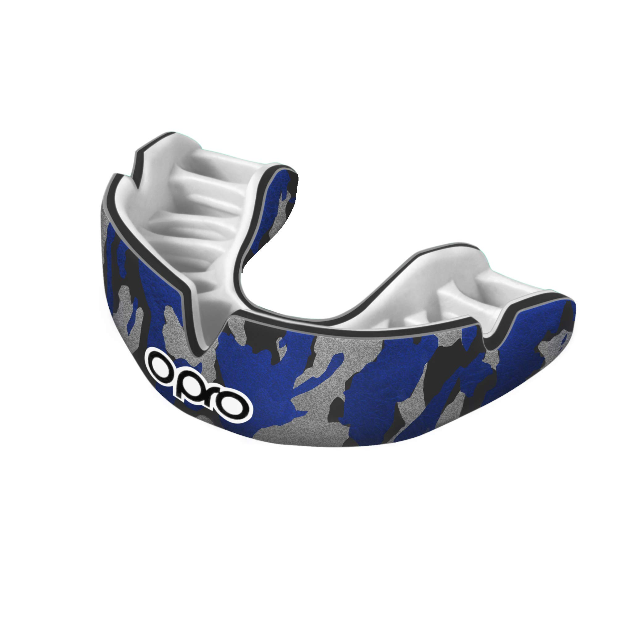 OPRO Power-Fit Mouthguard | Gum Shield for Rugby, Hockey, Wrestling, and Other Combat and Contact Sports (Adult and Junior Sizes) - 18 Month Dental Warranty (Camo - Black/Blue/Silver, Junior)