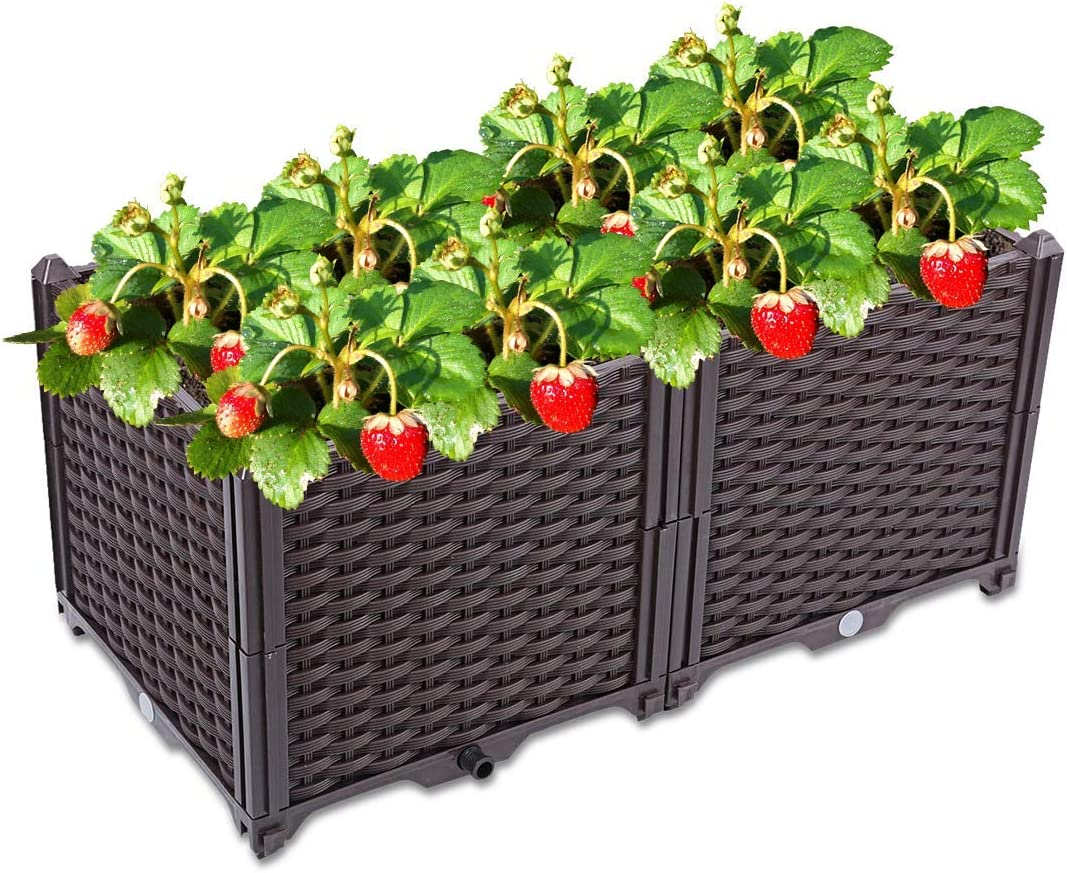 Elevated Garden Bed Kit,Modern Rattan Plastic Elevated Bed Garden Flower Pot Stand,Rectangular Rattan Style Plastic Planting Box,Outdoor Flower Beds, Gardening,Planting Herbs