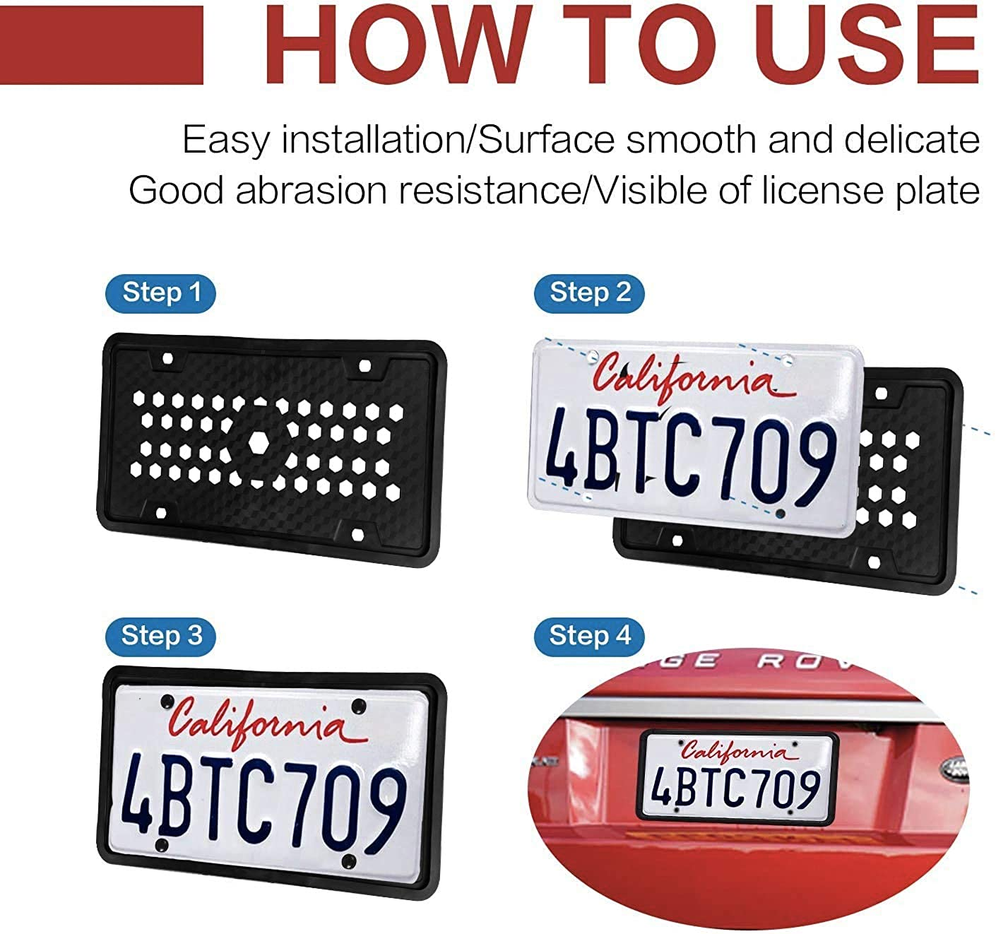 Bisou Silicone License Plate Frame Universal American Auto License Plate Holder,Rust-Proof,Rattle-Proof,Weather-Proof