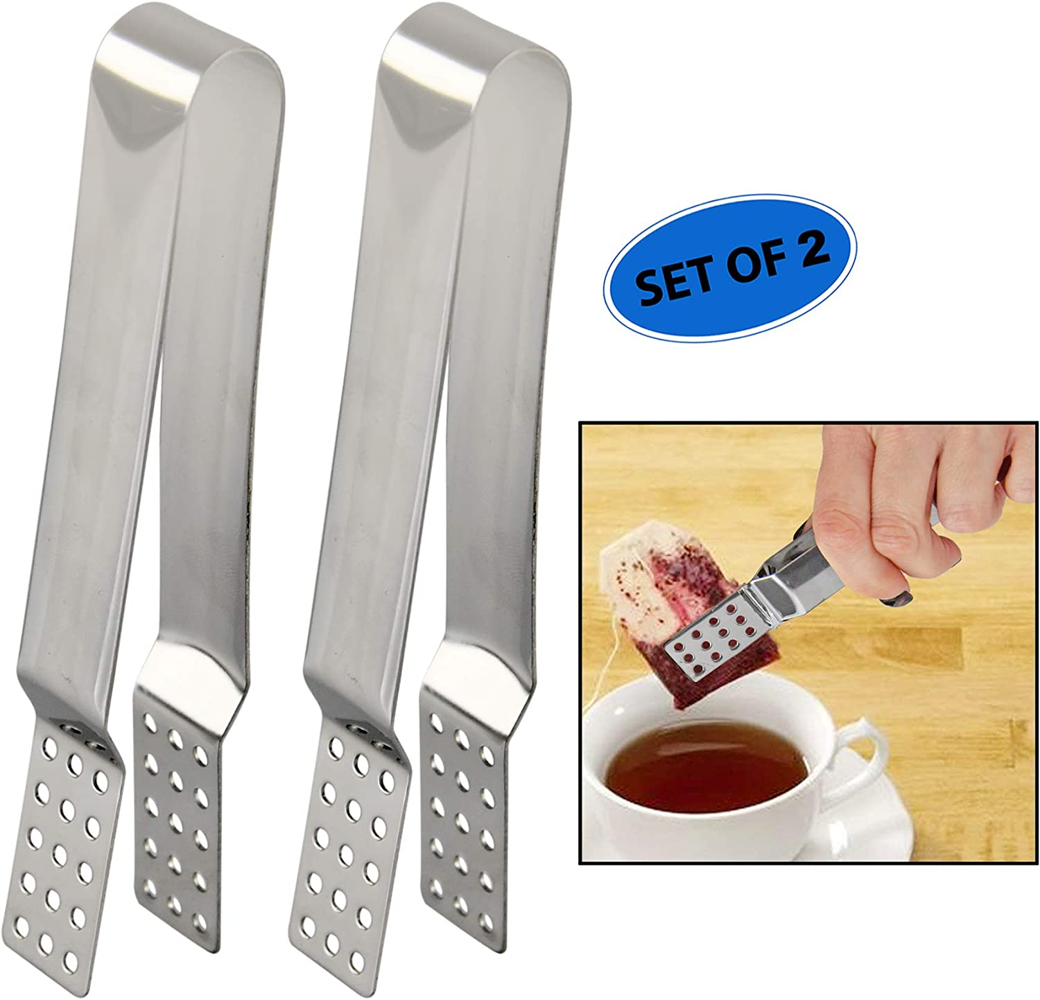 Haishell 2 PCS Tea Bag Squeezer Round Stainless Steel Teabag Tong Holder Herb Grip,6 Inch Long