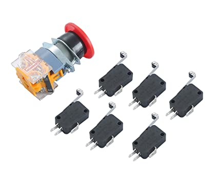 Push Button Switch AC 400V Red Sign E-Stop Emergency Mushroom 22mm NO NC + 6pcs End Stop Limited Micro Switch for CNC
