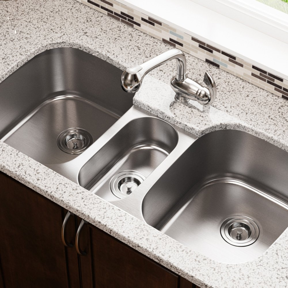 4521 Triple Bowl Stainless Steel Kitchen Sink, 16-Gauge, Sink Only by MR Direct (Image #2)