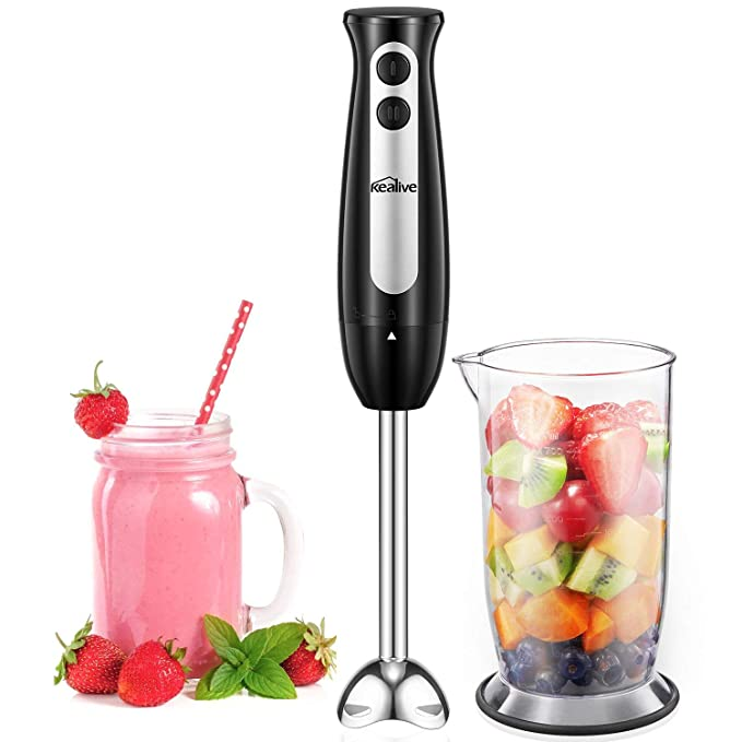 Kealive Hand Blender Stick Mixer with 2-Speed Control Includes 700ml BPA-Free Mixing Beaker Stainless Steel Blades Detachable Shaft, Black