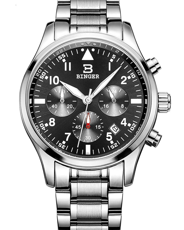 Binger Sport Herren-Quarz-Uhr mit schwarzem Zifferblatt Chronograph Display und Edelstahl-Armband (Silber)