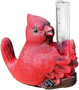 Red Bird Rain Gauge by Michael Carr Designs - Outdoor Bird Rain Gauge Figurine for gardens, patios and lawns (80119)
