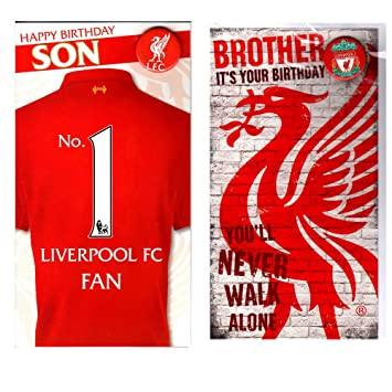 Liverpool Happy Birthday Son And Brother Card Set With Badges