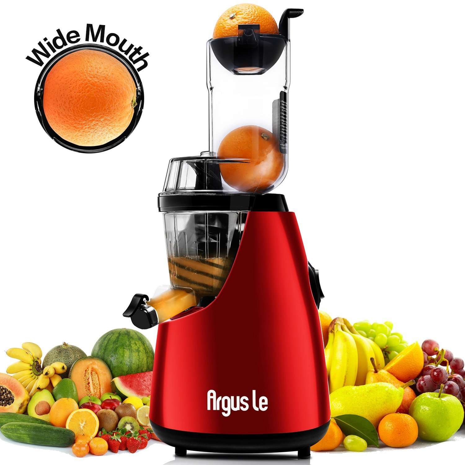 Argus Le Slow Masticating Juicer 3 inches Wide Feed Chute Easy Cleaning Extractor Fruits and Vegetables Low Speed Juicer - Unique 3 in 1 Auger Technology AL-B6000