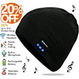 Bluetooth Beanie, Rechargeable Unisex Wireless Headphone Beanie with Control Panel, Removable Headphones, Charges via USB, Unique & Delightful Christmas Gift for Your Friends by HANPURE