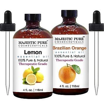 Majestic Pure Aceite Esencial De Limón Y Aceite Esencial De Naranja Gran Combo Para Aromaterapia Masajes Usos Tópicos Y Domésticos Beauty