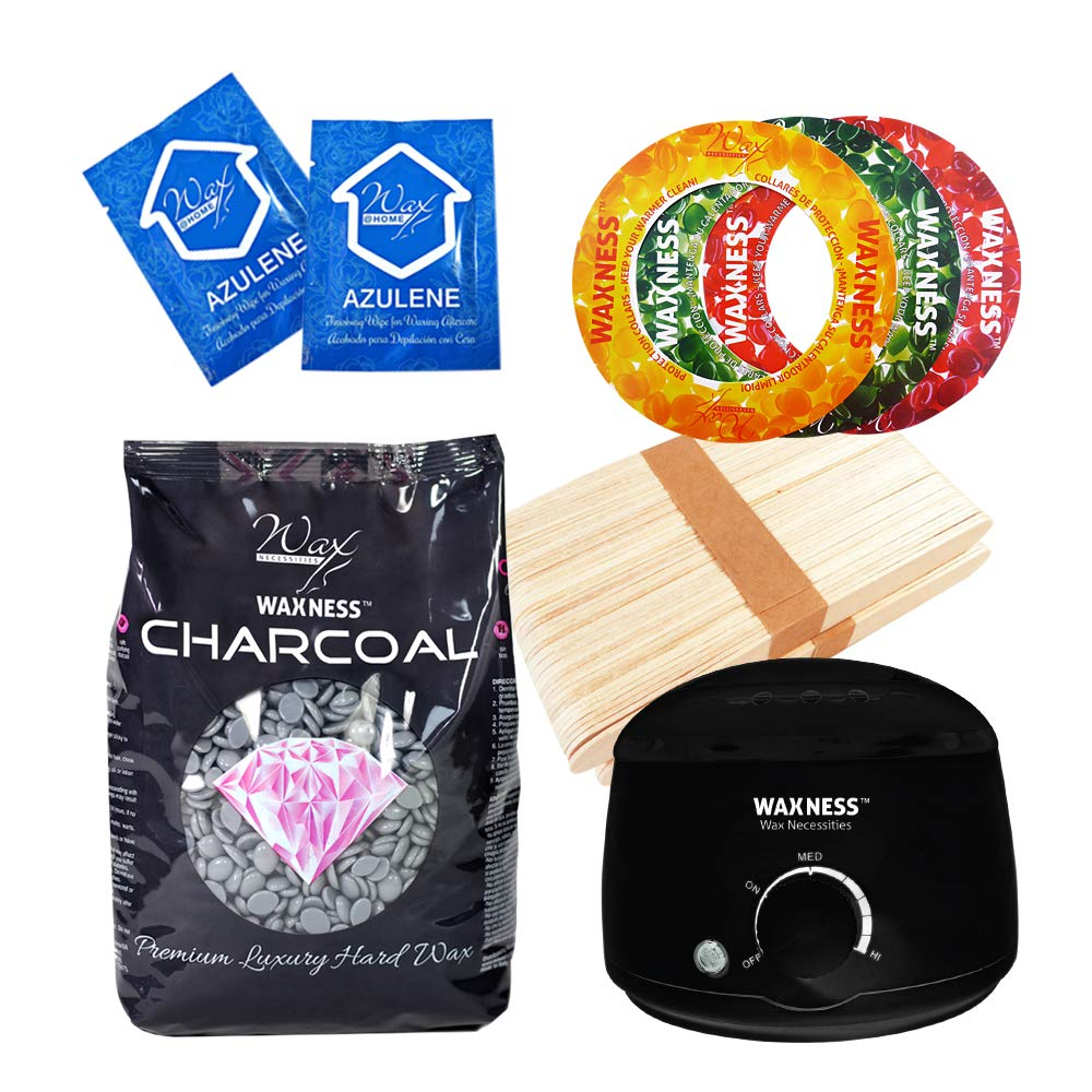 Waxness Premium Luxury Polymer Blend Charcoal Waxing Kit with 1.1 Pound Wax Bag