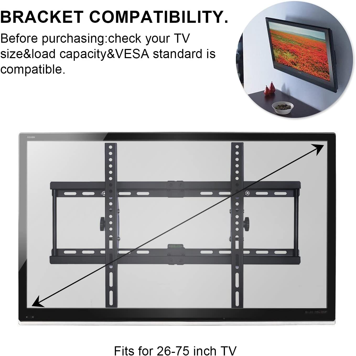 Soporte de Pared para televisor de 26 a 75 Pulgadas para LED, LCD ...