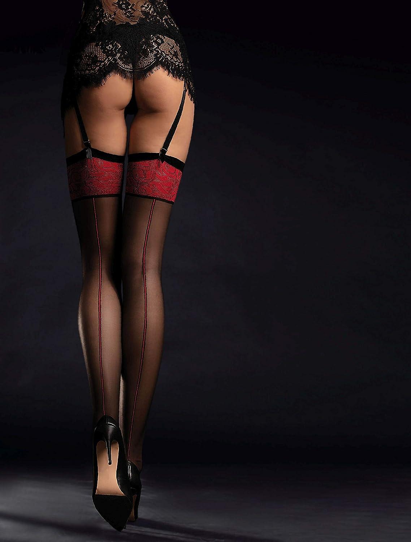 Pariser-Mode Reggicalze con cuciture rosse
