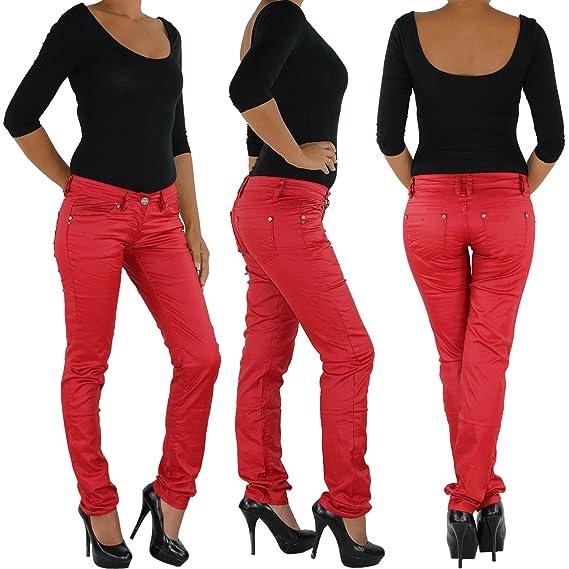 Damen Kunstlederhose Röhrenhose Bikerhose Damenhose Leder Look Hose Röhre Rot #