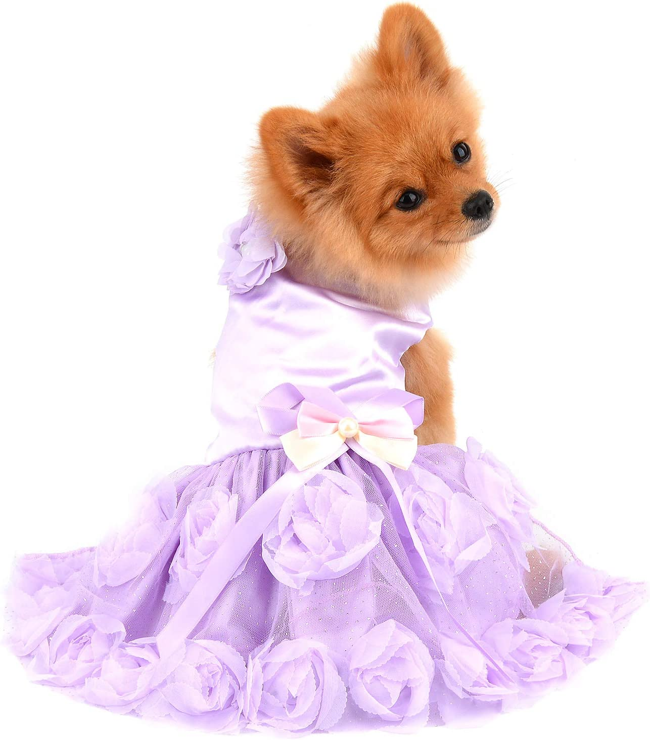 Delifur Dog Wedding Dress Pet Birthday Party Tutu Dress for Small Dogs Cats