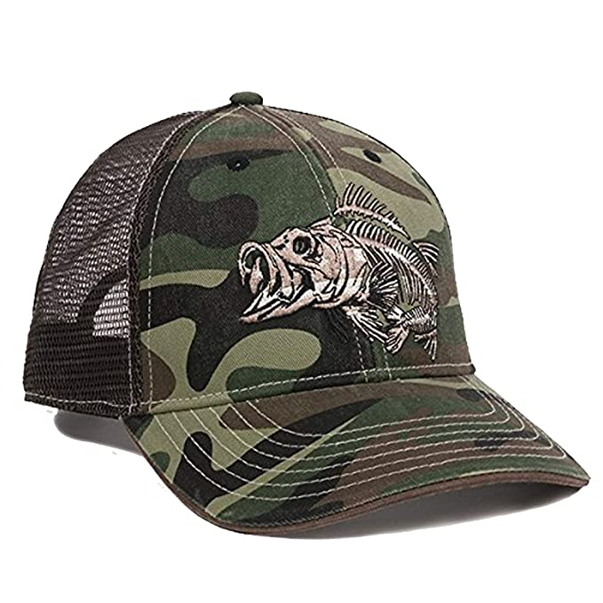 cdb99386cf4ae Bone Fish Skeleton Old School Camo Fishing Hunting Cap hat at Amazon ...