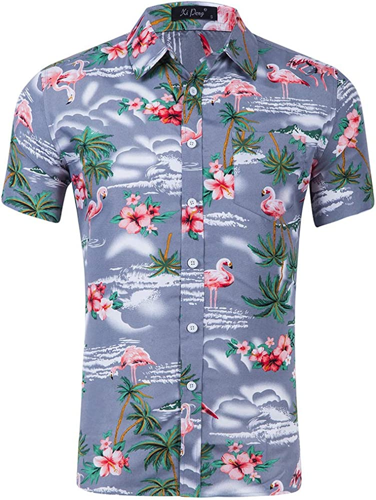 GUJMin Mens Short Sleeve Beach Shirt Fashion Casual Hawaiian Vacation Print Shirt