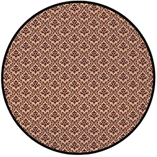 Printing Round Rug,Damask,Old Baroque Natural Pattern Organic Foliage Victorian Garden Renaissance Tile Mat Non-Slip Soft Entrance Mat Door Floor Rug Area Rug For Chair Living Room,Peach Redwood