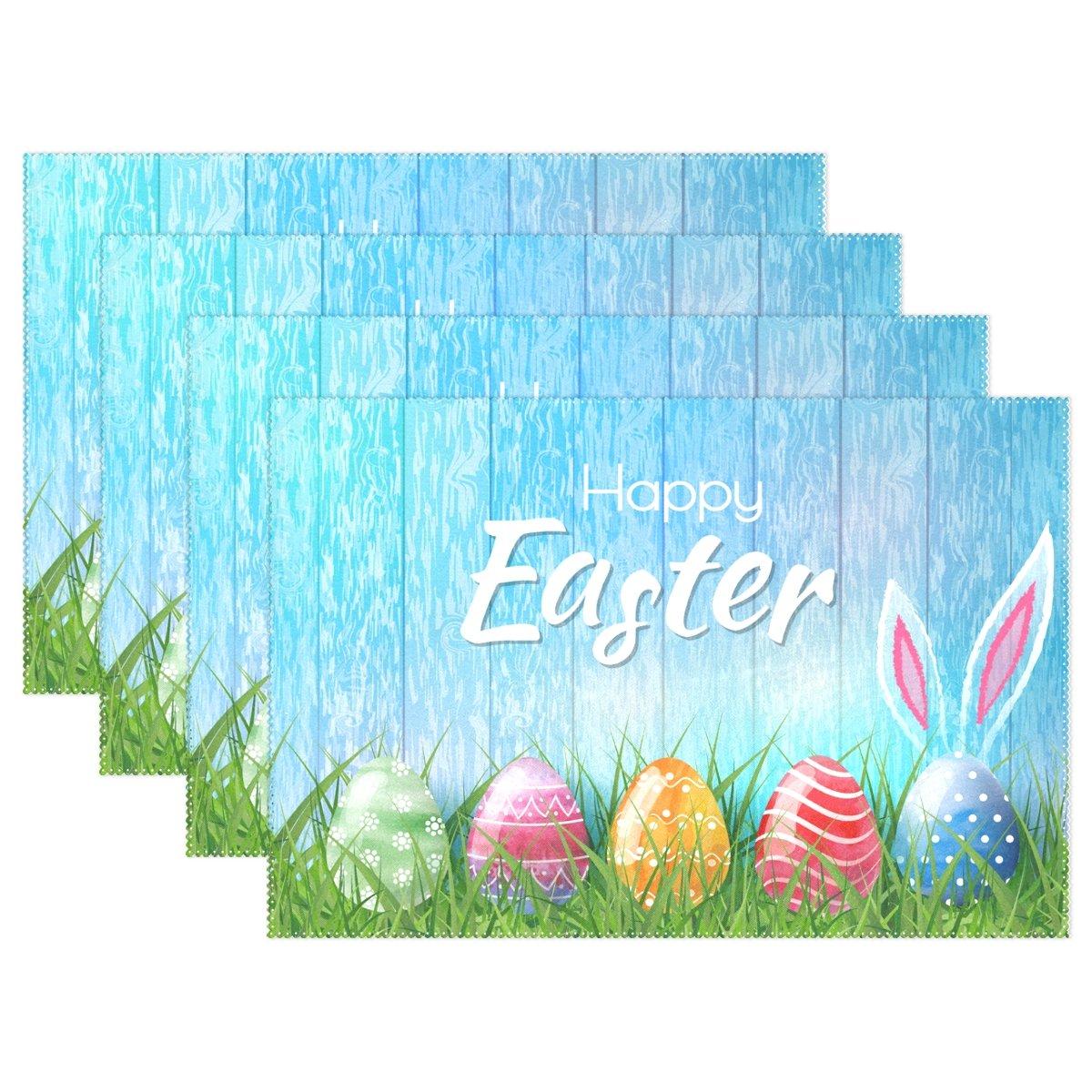 Alaza Happy Easter Bunny卵プレースマットプレートホルダーのセット1、ポリエステルテーブルの配置マットプロテクターキッチンダイニングルーム12