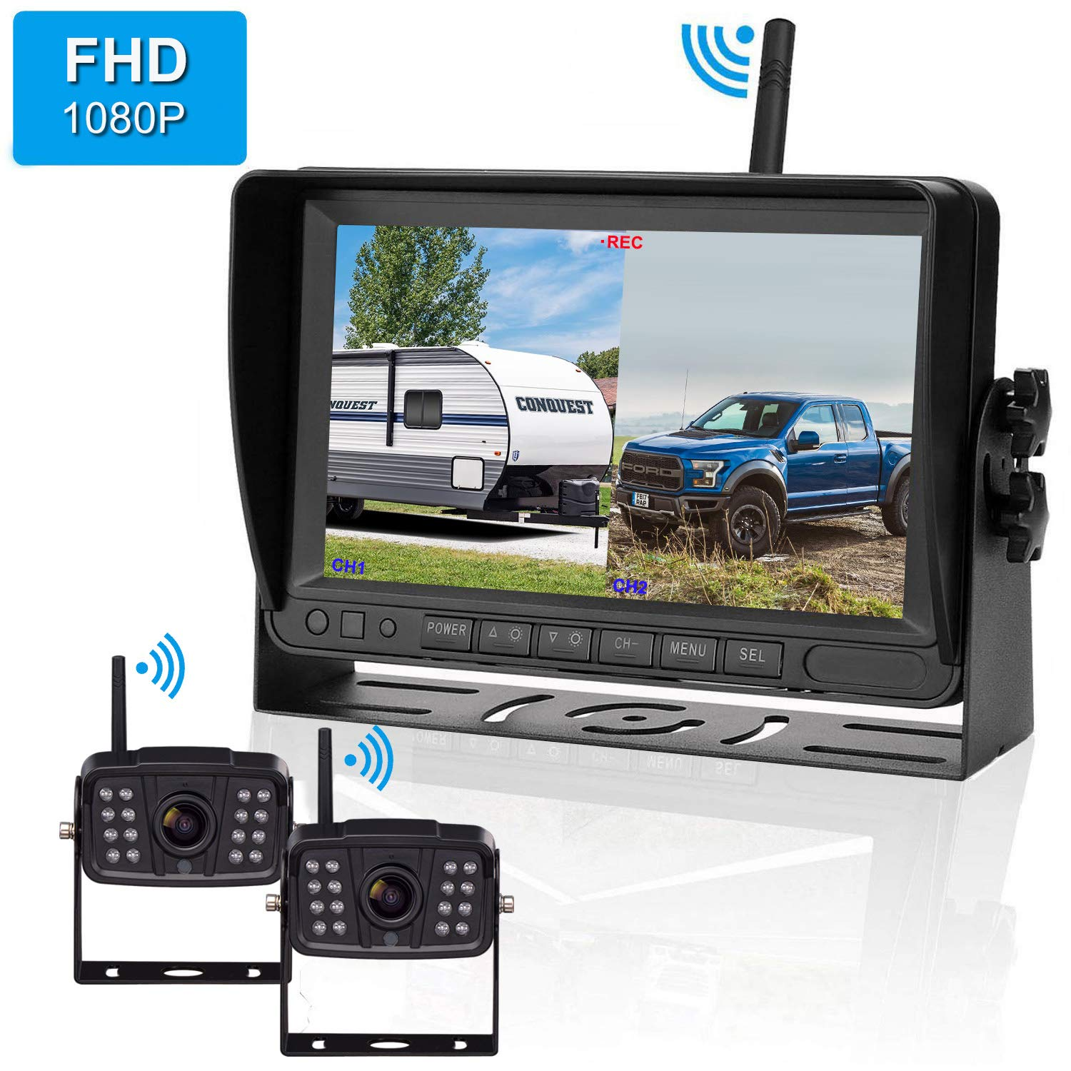 FHD 1080P Digital Wireless 2 Backup Camera for RVs/Trailers/Trucks/Motorhomes/5th Wheels 7''Monitor with DVR Highway Monitoring System IP69K Waterproof Super Night Vision by iStrong