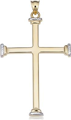 14k diamond cut yellow gold Jesus Crucifix Cross Pendant charm 1.85 inch long