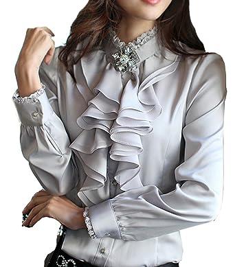 371c87e3f98c57 Cheerlife Damen Bluse Langarm Elegant Stehkragen mit Puffärmeln und Volants  Rüschung OL Business Slim Fit Chiffonbluse