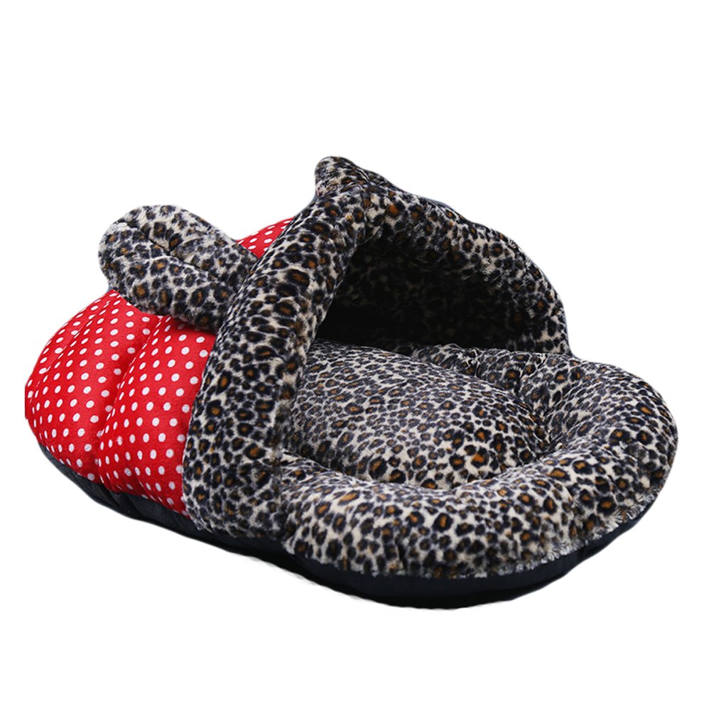 Saymequeen Leopard Spots Pet Cave Bed Slipper Shape Puppy Bed Rabbit House (red)