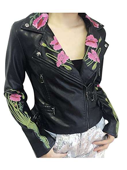 Berrygo Women S Floral Embroidered Faux Leather Moto Jacket At
