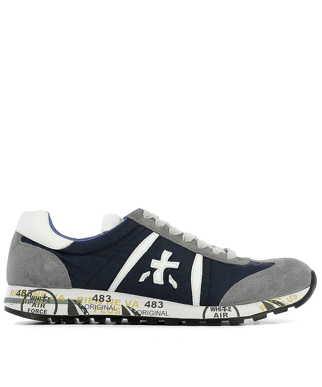 Premiata メンズ LUCY600E ブルー/グレー セーム 運動靴 B07BHJMYX7