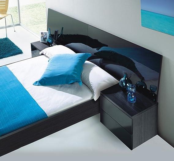 HOGAR24 Dormitorio: Cabezal DE Matrimonio + 2 MESITAS DE 2 CAJONES, Color Negro Malla Y Lacado Negro Brillo: Amazon.es: Hogar
