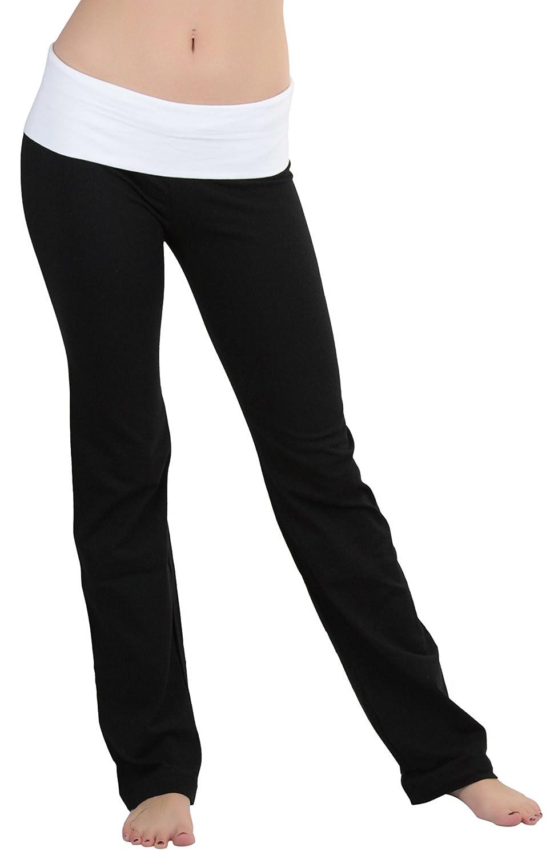 ToBeInStyle Women's Fold-Over Waistband Semi-Flare Leg Opening Yoga Pants 4333