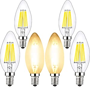 6w Candelabra Led Bulbs Dimmable, BRIMAX E12 Chandelier Light Bulb, 2700K Warm Whit Glow, B10/B11 Filament Led Candle Light Bulbs for Foyer Chandeliers, Celling Fans and Other Wall Fixtures ,6 Pack
