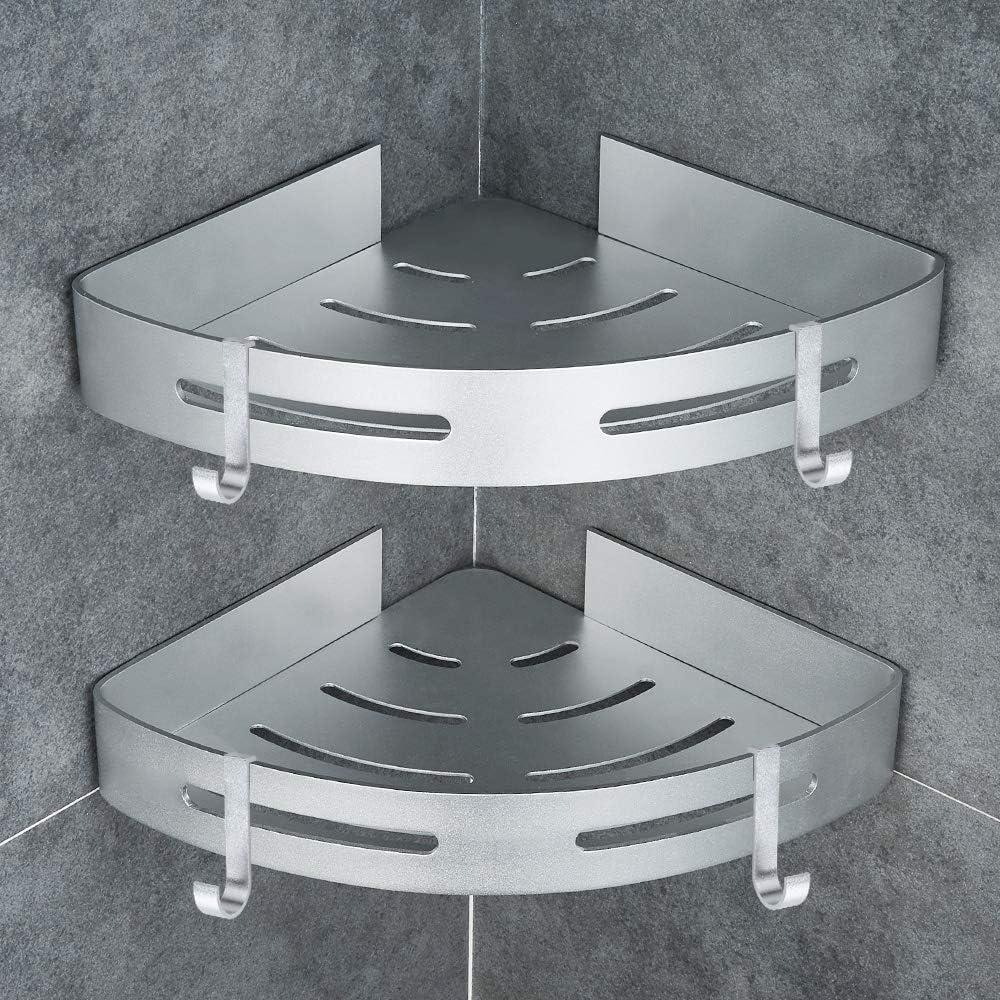 GERUIKE Estante Ducha Rinconera Ducha Estanteria Baño Cesta de Ducha Triangular Adhesiva para baño 4 Ganchos Aluminio aeroespacial Instalación sin Taladro 2 Niveles