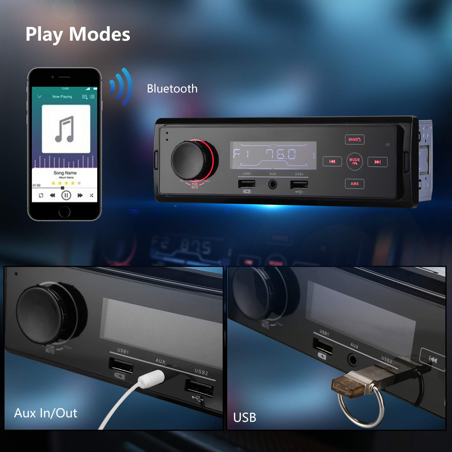 Autoradio mit Bluetooth Freisprecheinrichtung, bedee Digital Media Receiver AM/FM/AUX/TF/USB MP3 Player Kompatibel Android und IOS Handy Control, Universal für Single-Din Auto