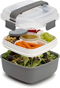 Goodful Lunch To Go Salad Container, Leak-Proof Food Storage Made without BPA, Bento Style Removeable Compartments for Sandwich, Snacks, Toppings & Dressing, 7 Cup/48 Ounces, Gray