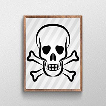 QG Art Skull And Crossbones Canvas Wall Art Frame Prints 20 X  25cm,Stretched And
