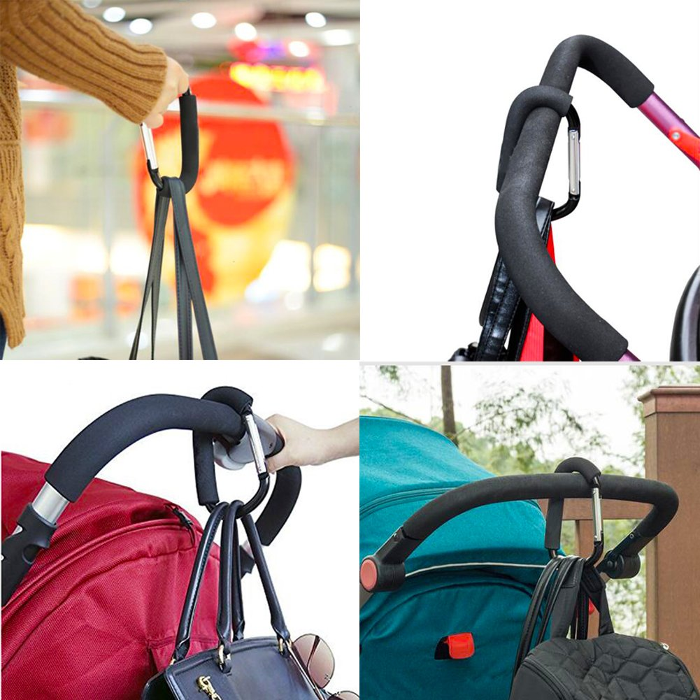 Gauss Kevin Stroller Hooks-Stroller Pram Buggy Hooks Set Hanger Organizer Accessories for Shopping Bags, Purses, Dog Leash-Black by Gauss Kevin (Image #5)