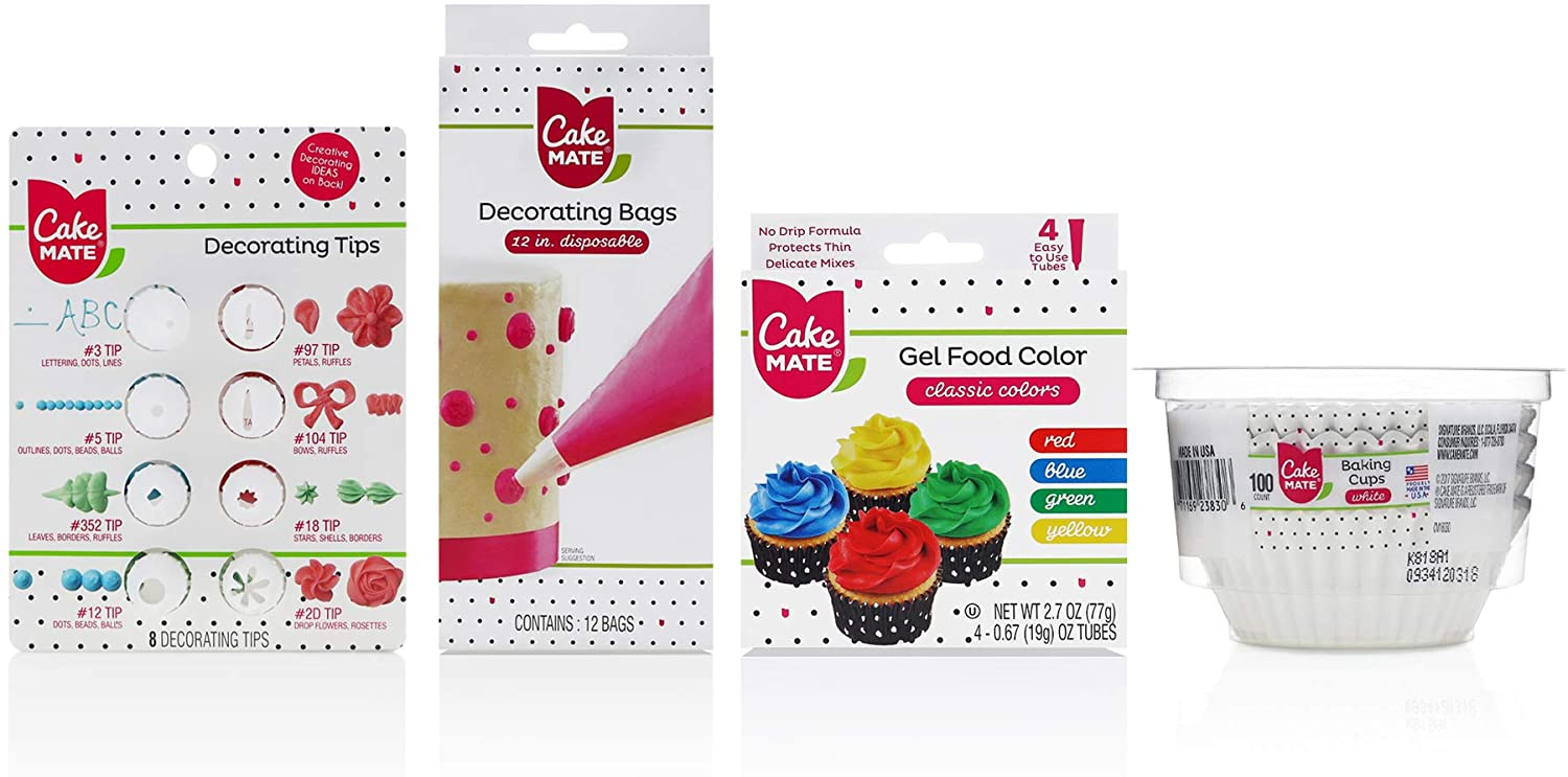 Cake Mate Decorating Tool Kit - 4-Piece Set Includes: Decorating Tips, Disposable Decorating/Piping Bags, 4 Gel Food Colors, White Baking Cups Set - Kosher and Gluten Free, 1 Pack